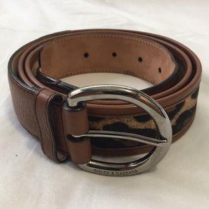 Dolce & Gabbana brown animal print leather belt